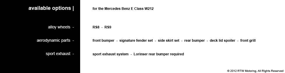 E Class - available options